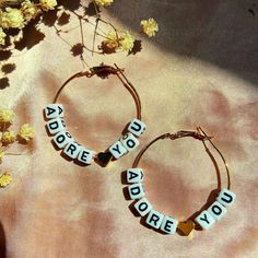 Grunge Jewelry, Funky Jewelry, Cute Jewelry, Jewelry Crafts, Jewelry Accessories, Letter Earrings, Letter Beads, Funky Earrings, Beaded Earrings