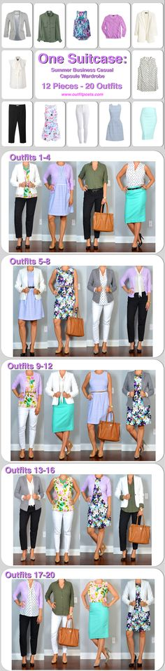 one suitcase: summer business casual capsule wardrobe | Outfit Posts