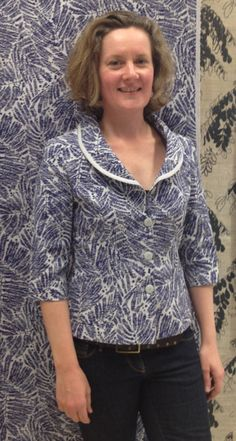 """New fabric!!!  Our shawl collar jacket in Hemp & Organic cotton Hand screen printed by Phillipa Wilkinson """"Pip Willy""""... look out for more Zeega garments in Pip Willy fabrics soon!!!"""