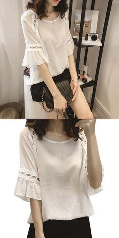 bfe93a5bc4b O neck women casual chiffon loose half sleeve hort summer blouse tops  blouse solid summer tops blusas mujer de moda 2018  regular  half   polyester  o-neck ...