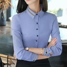 New autumn black slim blouse off… Fashion women clothes cotton long sleeve shirt. New autumn black slim blouse office ladies business plus size formal tops Ladies Shirts Formal, Formal Tops For Women, Formal Wear Women, Formal Blouses, Korean Fashion Work, Lady, Mode Blog, Mode Outfits, Professional Outfits