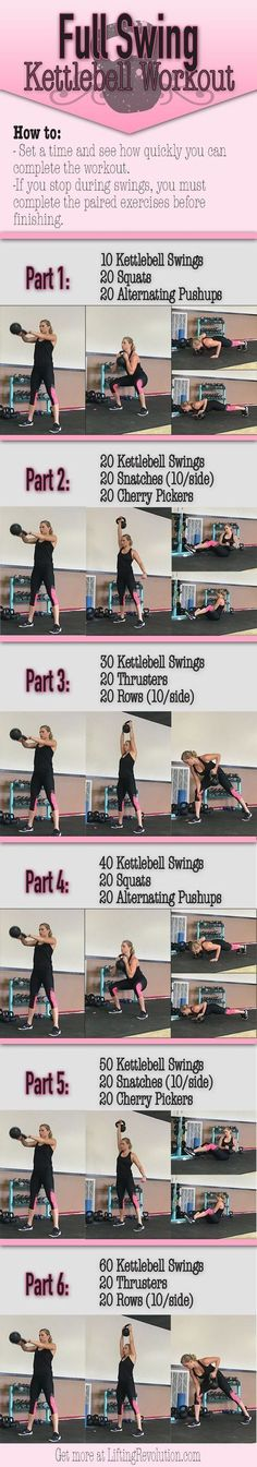 Total Body Kettlebell Workout revolving around heart thumbing swings. #kettlebell #workout