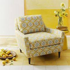 Everett Armchair - Prints   west elm      i want you so badly mr mustard arm chair!