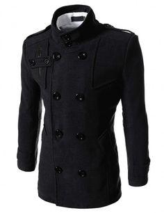 Doublju - Casaco Luxury de Lã Gola Alta (KAM) Compre roupas de qualidade, com design inovador e preço justo!
