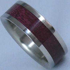 Titanium Wood Ring Purple Heart Wooden Inlay Band by usajewelry, $175.00   grooms band? with platinum?