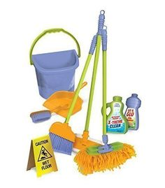"""Kids Cleaning Set – Mini Cleaning Set For Toddlers & Kids Ages Housekeeping Cleaning Supplies with Toy Broom/Duster/Brush/Dust Pan/Mop & More, """"Hours of Fun & Pretend Play"""" Cleaning Toys, Cleaning Supplies, Cleaning Service, Dango Peluche, Toddler Toys, Kids Toys, Wet Floor Signs, W 6, Pretend Play"""