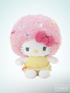 Sanrio Hello Kitty Costume Collection Plush Pink Afro w/ Ribbons