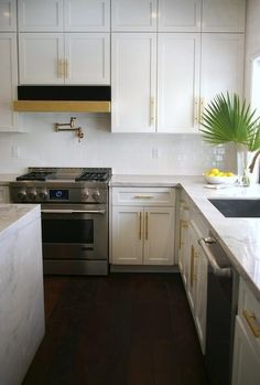 Stacked White Shaker Kitchen Cabinets Painted Benjamin Moore Intense Are Accented With Br T