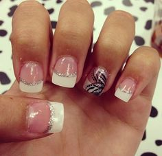 Ideas French Manicure Glitter Acrylics Ring Finger For 2019 Glitter Acrylics, White Tip Acrylic Nails, Glitter French Manicure, French Tip Nails, Pink Manicure, White Nail, Fancy Nails, Love Nails, Trendy Nails