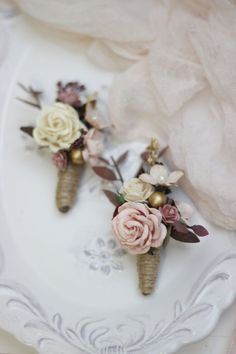 7537b72c1eac5 One Blush pink gold boutonniere Wedding accessories Men s boutonniere Groom  Groomsmen buttonhole Woo