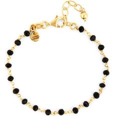 Karen London 24K Gold Plated Floating Bracelet ($40) ❤ liked on Polyvore featuring jewelry, bracelets, black onyx, karen london jewelry, 24k jewelry, karen london, 24 karat gold jewelry and gold plated jewellery