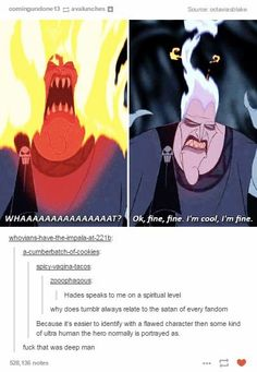 """Funny, then suddenly deep: why fandoms sometimes identify with the """"satan"""" figure instead of the hero. Funny Disney Memes, Disney Jokes, Funny Memes, Hilarious, Funny Laugh, It's Funny, Funny Tweets, Disney And Dreamworks, Disney Pixar"""