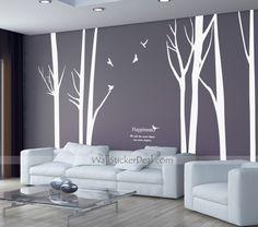 7 Birch Tree With Flying Birds Wall Sticker