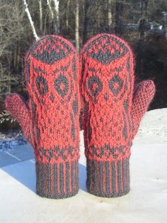 i need to get better at knitting so i can make these amazing owl mittens!