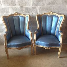Antique French Louis XVI 2 Chairs Wingback Fauteuils Bergere Original Frame Creme w/ Gold Leaf Re-Upholster Royal Blue Handmade Shabby Chic by SittinPrettyByMyleen on Etsy