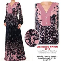 2748  Mauve Front Buttoned Ladies Islamic Abaya Long by MissMode21, $36.00