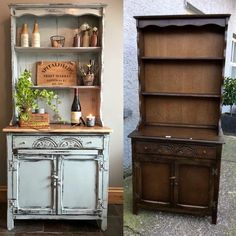 Anne Sloan gray chalk paint, distressed with sandpaper and sealed with clear wax. Repainting Furniture, Basement Furniture, Diy Furniture Projects, Paint Furniture, Furniture Makeover, Small Basement Kitchen, Rustic Basement, Distressed Furniture, Repurposed Furniture