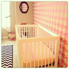Emma's Houndstooth Nursery with custom hand-painted wall and Babyletto Hudson 3-in-1 Convertible Crib