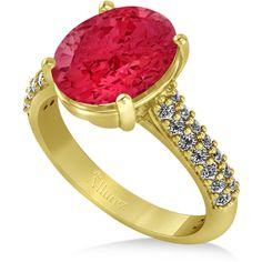 Allurez Oval Ruby & Diamond Engagement Ring 18k Yellow Gold (4.42ct) (€4.410) ❤ liked on Polyvore featuring jewelry, rings, diamond rings, yellow gold engagement rings, oval diamond ring, gold ruby ring and ruby diamond ring