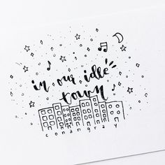 Bullet journal doodle, stars, night sky, skyline @merakinotes