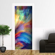 setole colorate - adesivo per porta  Dimensioni: 80 x 215 cm; 105 x 215 cm;  #adesivoperporta #rivestimentoperporta #decorazioneperporta #stampadigitale