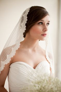 Dotted Lace Veil, Mantilla Veil, Elbow Length Veil, Waist Length Veil, Swiss Dot Veil, Point d' Esprit Veil - Emma MADE TO ORDER