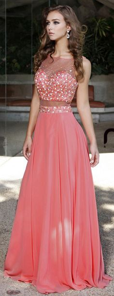 Two Piece Illusion Bodice Long Prom Dress Watermelon Chiffon (2 Colors Available) #discountdressshop #prom #promdress #promgown #pageantdress