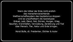 Bildzitat Apokalypse - Zitat von Horst Bulla - Gesellschaftskritische Zitate / Politik - Zitate / Quotes