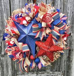 4th of July Deco Mesh Wreath, July 4th Wreath, Americana Wreath, Patriotic Deco Mesh Wreath, Independence Day Wreath, Memorial Day Wreath by ADoubleDCreation on Etsy