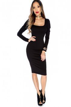 f2e822607f Sexy Black Mid Sleeve Calve Length Bodycon Dress