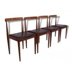 chaise,chaises,danoise,scandinave,1950,1960,arne,hovmand,olsen,farstrup,dossier,courbé,teck,simili,cuir,noir,vintage,élégante,modernes