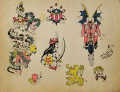 Vintage 1940's Original Tattoo Flash by Sailor Norm #2