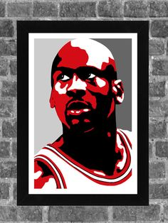 Chicago Bulls Michael Jordan Portrait Sports Print by FanFourLife