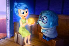 """Joy and Sadness (voiced by Amy Poehler and Phyllis Smith) in the new Pixar movie """"Inside Out"""" How many ideas can the folks at Pixar h. Film Pixar, Pixar Movies, New Movies, Disney Movies, Disney Pixar, Disney Stuff, Walt Disney, Disney Art, Film Inside Out"""