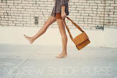 DIY Sincerely, Kinsey: No Sew Suede Purse