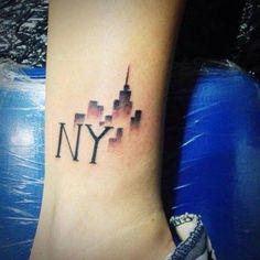 Relative New York Tattoo Ideas Thigh Piece Tattoos, Black Ink Tattoos, Small Tattoos, Ankle Tattoo For Girl, Ankle Tattoos For Women, Tattoos For Guys, New York Tattoo, Silhouette Tattoos, Ankle Tattoo Designs