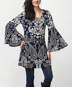 Look at this Navy Paisley Bell-Sleeve Tunic on #zulily today!