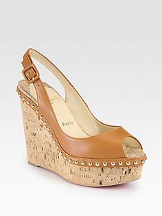 My Summer Go-To Sandal! #ChristianLouboutin Monico Studded Leather Cork #Wedge #Pumps