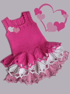 Hottest crochet craft now  --- Pretty Valentine Dress for your little princess .  Free Pattern  #diy #craft #crochet