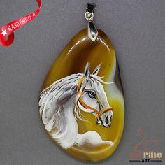 Hand Painted ArabianHorse Pendant For Necklace Gemstone  ZL807356 #ZL #Pendant