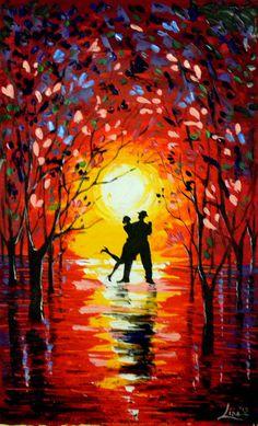 Original Abstract Painting Dancing Sunset 2 door ArtonlineGallery