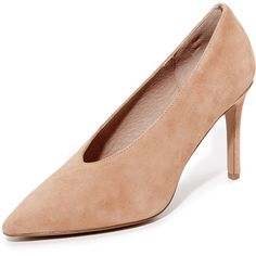 Steven Aiken Suede Pumps ($140) ❤ liked on Polyvore featuring shoes, pumps, sand, pointed toe shoes, suede pointed toe pumps, suede leather shoes, sand suede shoes and pointy-toe pumps