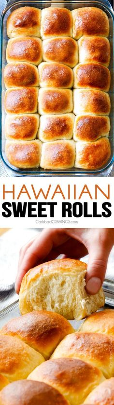 Hawaiian Sweet Rolls sweet, buttery, tropical Hawaiian Sweet Rolls are super soft and fluffy infused with pineapple juice and slathered in butter! My family LOVES these! perfect for sliders, potlucks and special occasion dinners like Thanksgiving! Sweet Roll Recipe, Sweet Bread Rolls Recipe, Dinner Rolls Recipe, Hawaiian Sweet Rolls, Hawaiian Candy, Hawaiian Bread Rolls, Hawaiian Buns, Carlsbad Cravings, Bread And Pastries