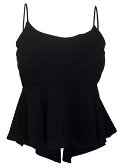 Plus size top features tank top design with spaghetti straps. Sexy lace up detail in the back. Peplum waist. Medium weight knit fabric. Available in Junior plus size 1XL, 2XL, 3XL.