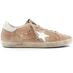 Golden Goose Deluxe Brand Super Star low-top velvet trainers ($525) ❤ liked on Polyvore featuring shoes, sneakers, pink, silver metallic shoes, low profile shoes, pink sneakers, golden goose trainers and logo shoes