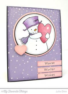 Happy Heart Snowman, Snowfall Background - Julie Dinn #mftstamps