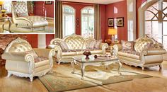 Light fixtures are right in your home in the French country living area. I #frenchcountrysofa
