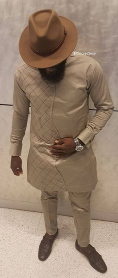 SuccesSexy Men's African Wear Beige Suit African Print