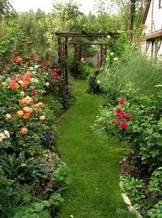 A beautiful garden! Deep curved flower beds, I would have a curved pathway running through
