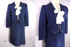 Midi Dress Sz M Kitten Bow Tie Navy Stripe Vintage 80s Career Business Jane Baar